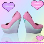 DAWNTROVERSIAL PINK DIP DYE WEDGES CROSSES