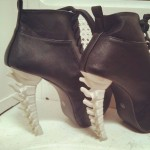 skeleton bone heel boot bootie lace up ladies